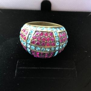 Pink tourmaline and blue topaz Art Deco ring